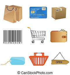 illustration of sales icons on white background
