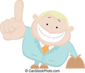 Illustration of salesman showing