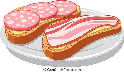 sandwich with bacon and sausages