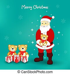 Santa Claus and cute brown teddy
