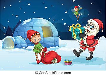 santa claus and kids - illustration of santa claus and kids
