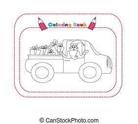 illustration of Santa Claus driving car with Christmas gifts