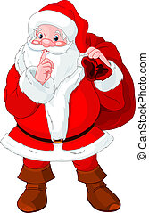 Santa Claus gesturing shush - Illustration of Santa Claus...
