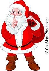 Illustration of Santa Claus gesturing shush