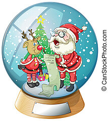 Santa Claus holding a list inside the snow ball with a ...