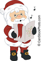 Music Sheet - Illustration of Santa Claus Holding a Music ...