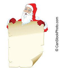 Illustration of santa claus holding blank list