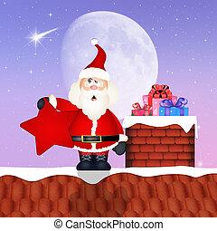 Santa Claus on roof at Christmas