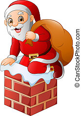 illustration of Santa Claus on the house roof chimney with bag of gifts