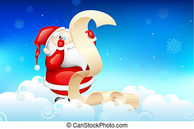 Santa Claus reading wish list - illustration of Santa Claus...