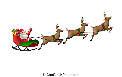 Illustration of Santa claus riding sleigh isolated on white