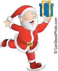 Santa claus skier holding a gift box