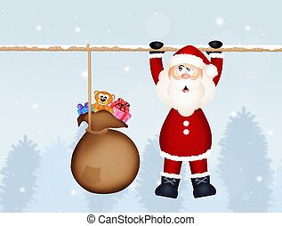 Santa Claus with sack of present