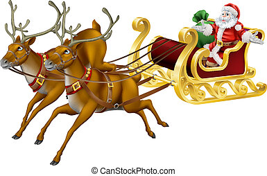 Christmas sled - Illustration of Santa in his Christmas sled...