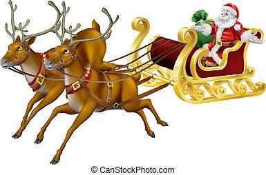 Christmas sled - Illustration of Santa in his Christmas sled...