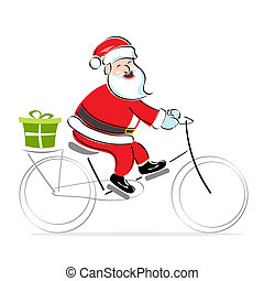 santa on cycle wishing merry christmas - illustration of...