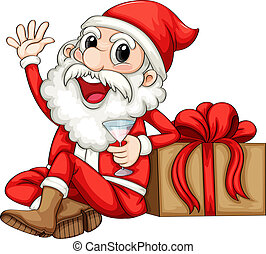 Illustration of Santa sitting beside a gift on a white background