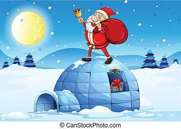 Santa standing above an igloo - Illustration of Santa...