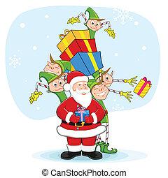Santa with Elf distrubiting Christmas Gift