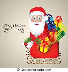 illustration of santa with sleigh
