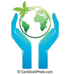 illustration of save earth on white background