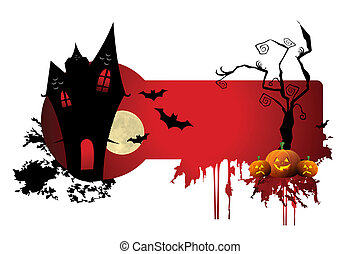illustration of scary halloween night on white background