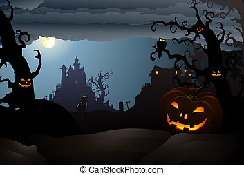 scary halloween of a haunted house - illustration of scary...