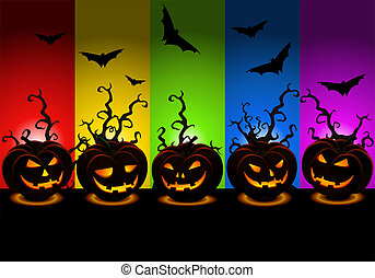 scary halloween wallpaper with various carved pumpkins -...