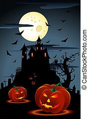 scary pumpkins - illustration of scary pumpkins halloween...