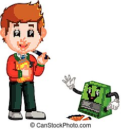 School boy with sharpener cartoon