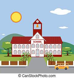 Illustration of School Building.