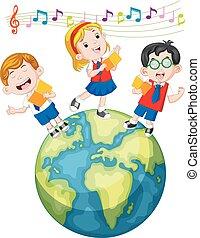 school children singing on the globe
