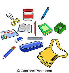 illustration of school equipment