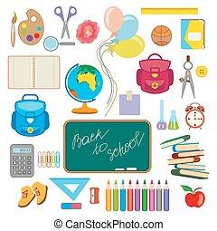 illustration of school object popping