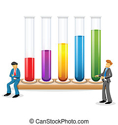 illustration of scientists with test tubes on white background