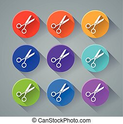 scissors icons with various colors