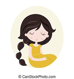 Illustration of Scorpio zodiac sign as a beautiful girl. Vector illustration isolated on white.