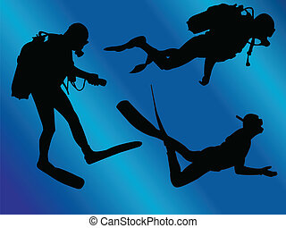 scuba divers with background - illustration of scuba divers...