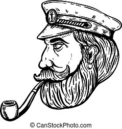 Illustration of sea captain with smoking pipe isolated on white background. Design element for poster, t-shirt. Vector illustration