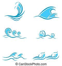 sea waves - illustration of sea waves on white background
