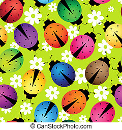 abstract beetles - Illustration of seamless background with...