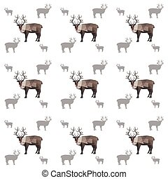 Illustration Of Seamless Origami Reindeer Pattern