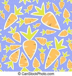 Seamless pattern orange carrots on a purple