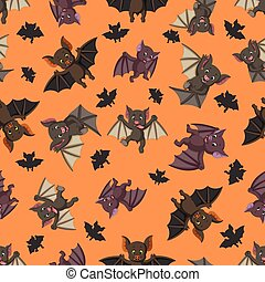 Seamless pattern with bat in the different posing