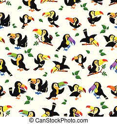 Seamless pattern with black toucan with the different posing