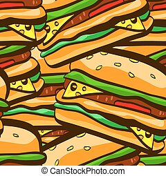 Illustration of seamless pattern with burgers