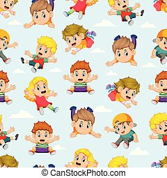 Seamless pattern with children flying with the different posing