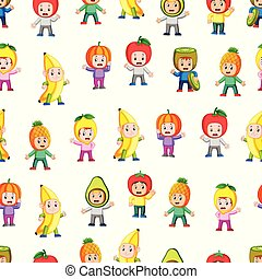 Seamless pattern with children using the healthy fruit costume