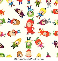 Seamless pattern with children using the healthy vegetables costume