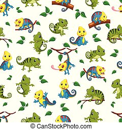 Seamless pattern with collection of the chameleon